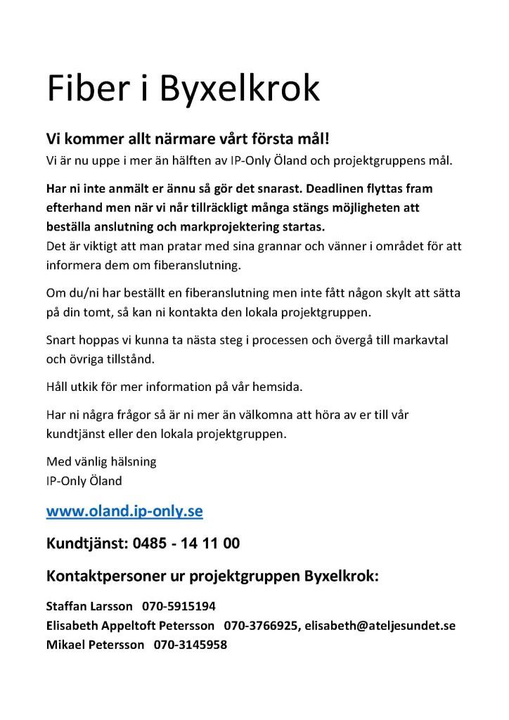 Fiber i Byxelkrok info12 dec